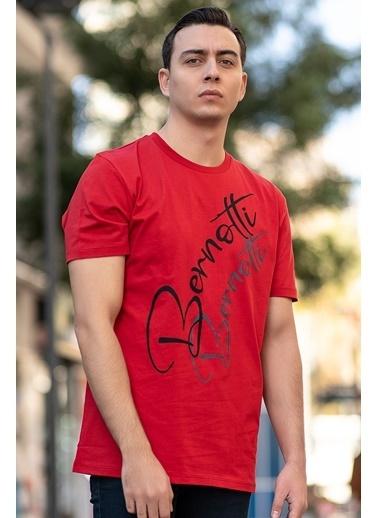 Bernotti 79 Kırmızı Baskı Detaylı Sıfır Yaka Erkek T-Shirt Kırmızı